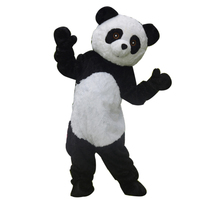 Lifelike Long Plush Panda Mascot Costume For Adult Life Size Full Body Bear Character Outfits For