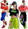 2017 летом Новая Мода танец хип-хоп короткий топ женский девушки Джаз износ производительности костюм Сексуальная Письмо пинта ультра-короткие футболки