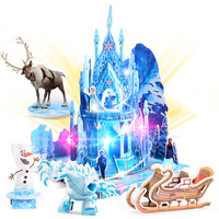Snow Princess Ice Castle 3D Cartoon Puzzle Baby Girls Educational Toys With Lights Kids Electronics Toys