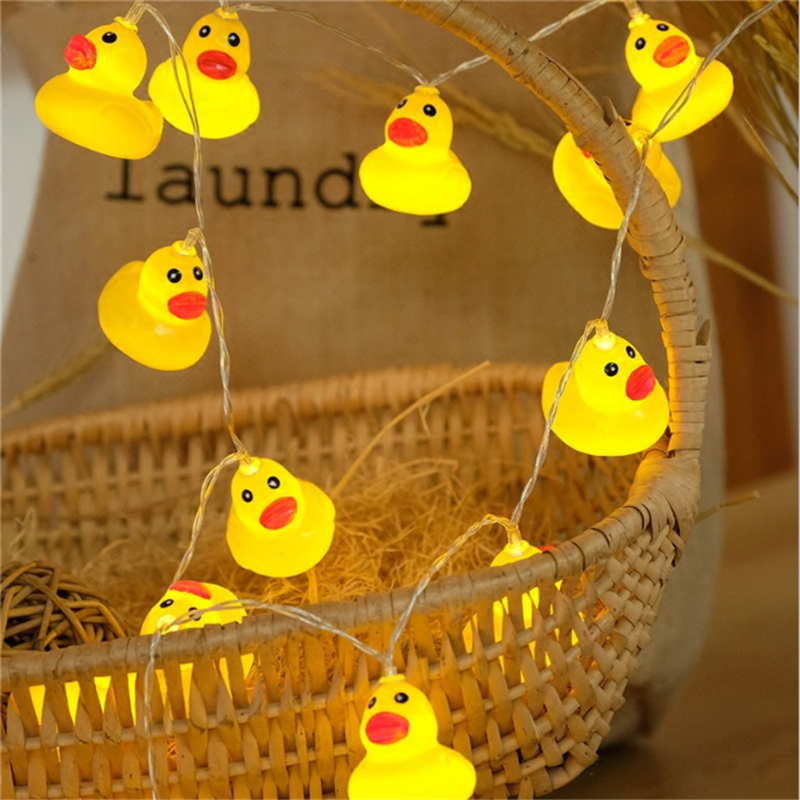 1M 10 Led Mini Yellow Duck LED String Light Glow Indoor Outdoor Xmas Wedding Party Battery Operated LED Fairy Light
