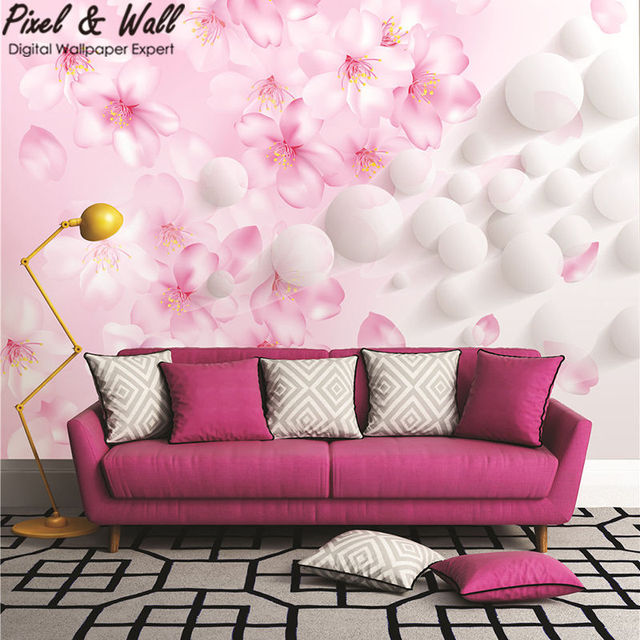 Apricot blossom spring rain solid wallpaper wall support mural tv ...
