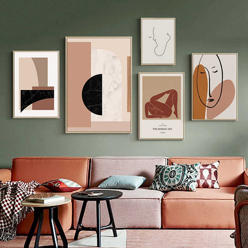 Abstract Scandinavia Marble Canvas Paintings Nordic Posters Prints POP Wall Art Picture for Gallery Living Room Home Decoration