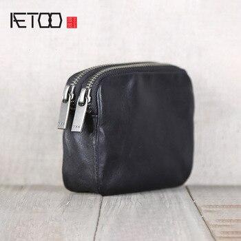 AETOO El Yapımı dana derisi küçük cüzdan deri kısa para çanta rahat küçük