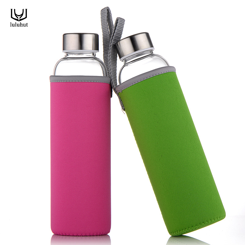 luluhut Travel drinkware Portable bottle new design of glass water bottle Transparent bottle for water tea glass drinking bottle-in Water Bottles from Home & Garden on AliExpress