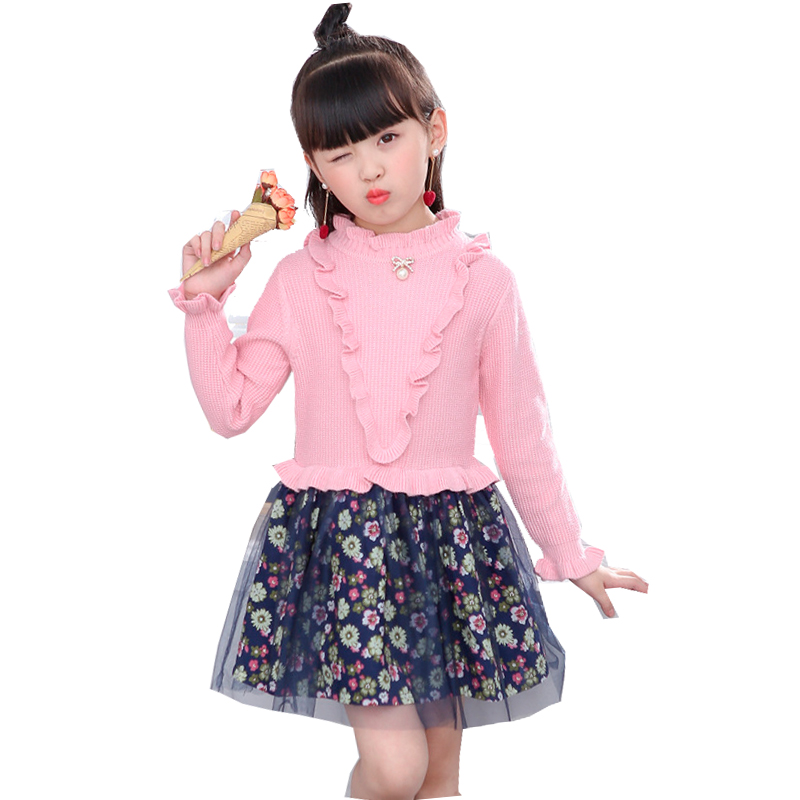 Kids Girls Clothing New Autumn Winter 2017 Knitted Sweater Mesh Lace Dress For Girls Floral Princess Dress 5 6 8 10 12 years old girls autumn winter princess costume wedding dress child kids clothing purple mesh lace flower