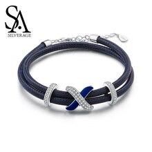 цена SA SILVERAGE S925 Silver Zirconia Strand Bracelets Fine Jewelry 925 Sterling Bracelet Bangle for Woman 17.8cm+3cm Extender 2019 онлайн в 2017 году