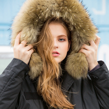 AIGYPTOS PANXI Original Design Winter Women Brief Warm Casual Oversized Loose Real Raccoon Fur Black Long White Duck Down Coat