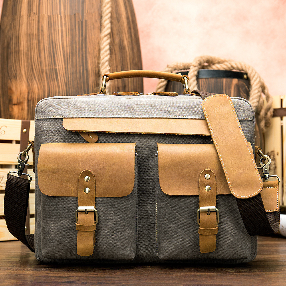 New Arrival Casual Vintage Men's Briefcase Canvas&crazy Horse Cow Leather Large Men Bag Handbag Business Bags 14