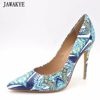 JAWAKYE Women Shoes blue Embossing snake skin printed pattern High Heels Pointed Toe Pumps Wedding Shoes women zapatos