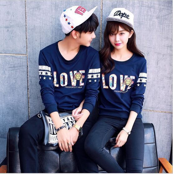 bcb9fcf675 New Couple man/ Women's Casual Couple T Shirt LOVE printed Love Matching Shirts  Couple Sports Pullovers Sweatshirts -in T-Shirts from Women's Clothing on  ...
