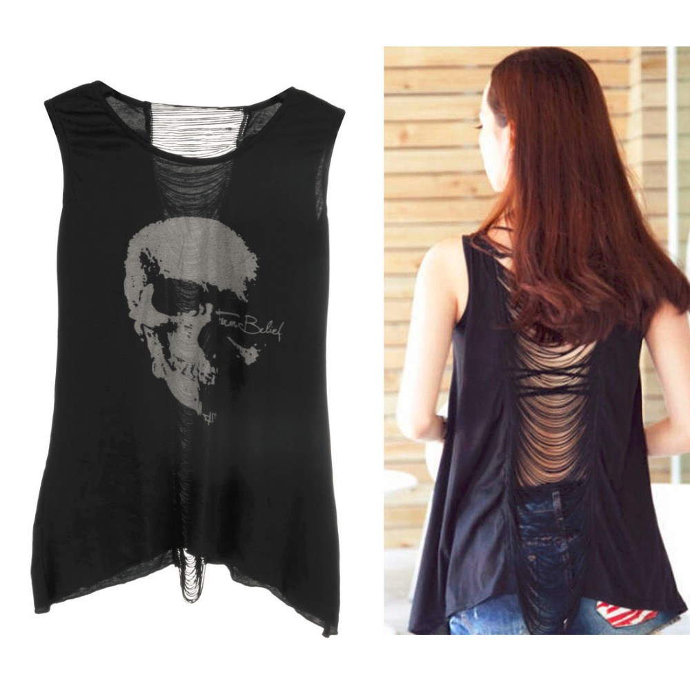 Women's Skull T Shirt Open Shirts Ladies Pop Back Singlet Long Shirts Tees