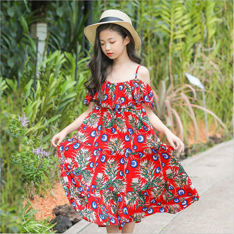 2019 High Quality Korean floral Vacation Girls dress big boy Princess for childrens clothing