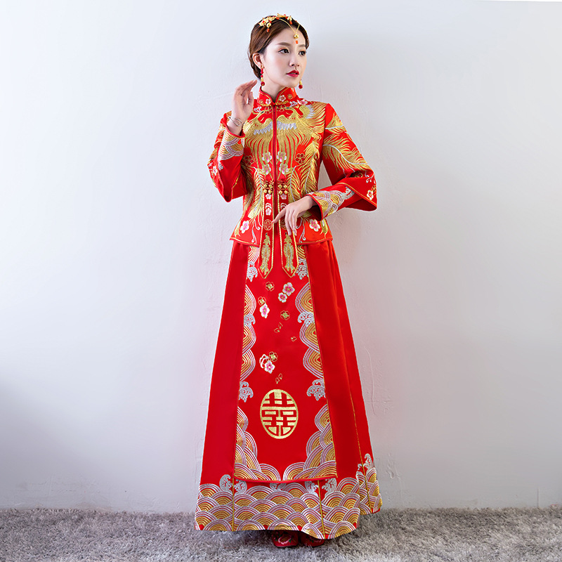 Printemps rouge à manches longues Cheongsam broderie Phoenix mariée mariage Qipao chinois traditionnel femmes longue Robe Robe Chinoise