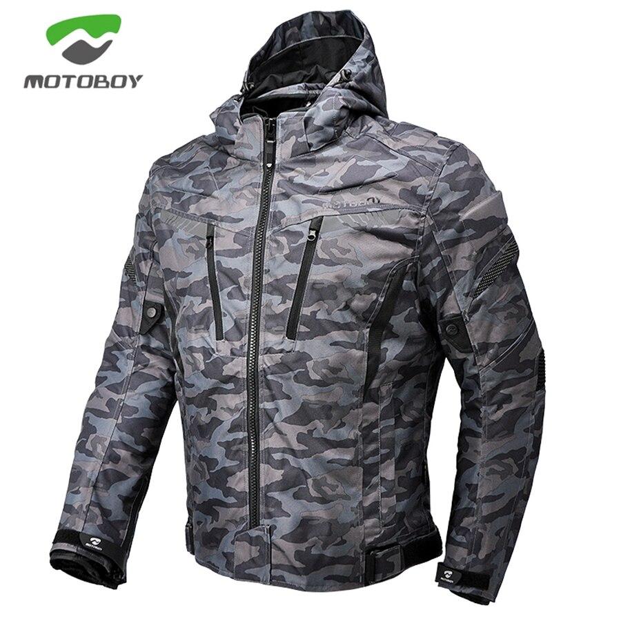 Livraison gratuite 1 pcs Hommes D'hiver Moto Camouflage Imperméable À L'eau Chaude CE Protéger Cordura Textile Moto Veste Avec 5 pcs Tampons