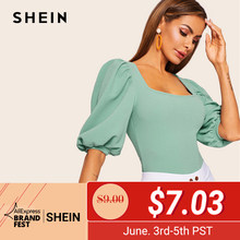 625f2631d0c0 SHEIN Turquoise Puff Sleeve Solid Fitted Square Neck Tee T Shirt Women  Summer 2019 Half Sleeve Elegant Workwear T-shirt Tops