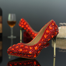 2016 spring and autumn pointed toe rhinestone wedding shoes crystal shoes bridal shoes sexy rhinestone thin heels high-heeled