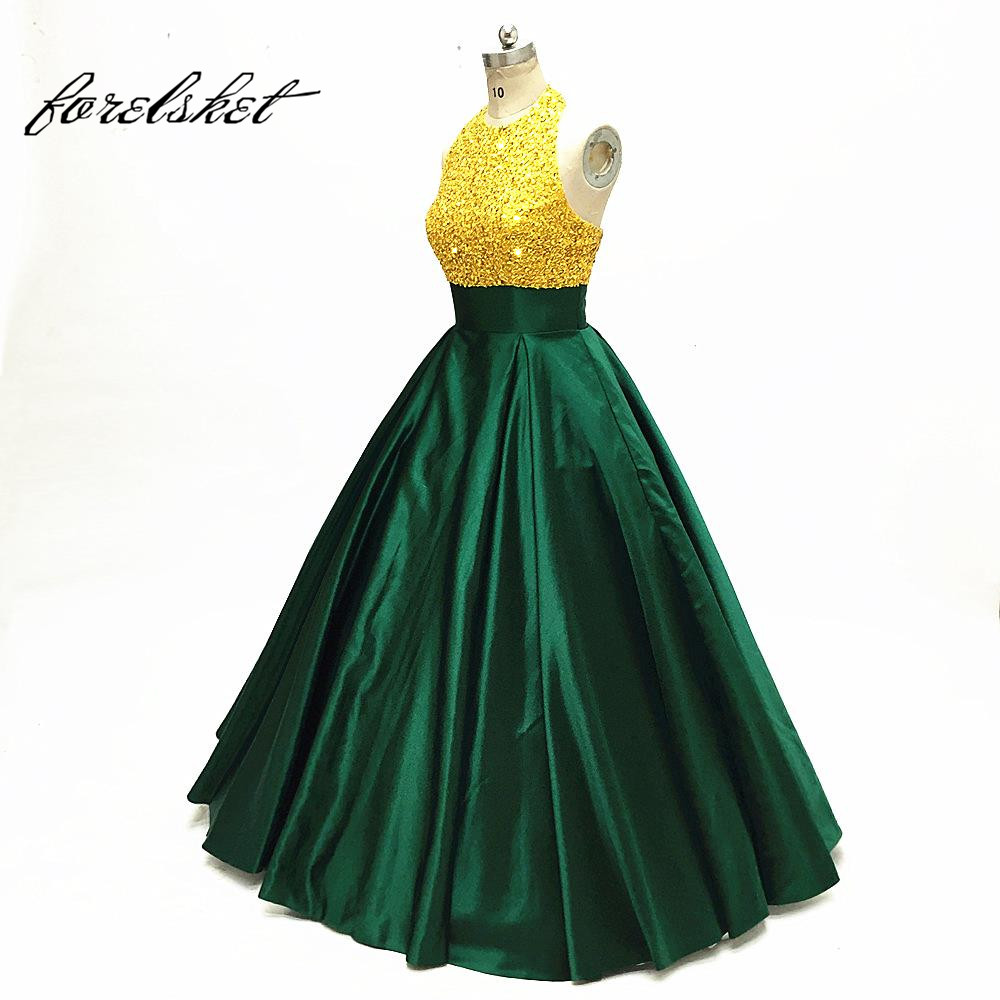 2019 New Arrival Long   Prom     Dresses   Green Beaded Sleeveless Crystals Satin Formal Evening   Dress   for Party Gowns floor length