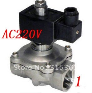 Free Shipping 5PCS/Lot 1'' Stainless Steel Normally Open Water Solenoid Valves Oil Acid VITON AC220V free shipping 3 4 port size 0927300 diaphragms solenoid valves nc 5pcs in lot
