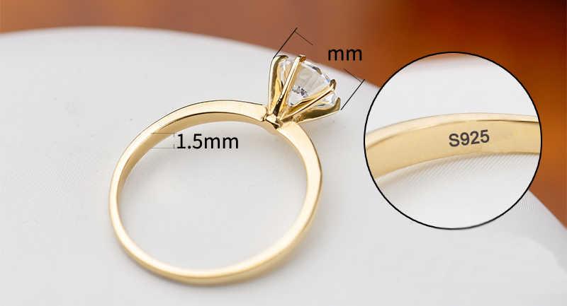90% OFF! เดิม 925 เงินฐาน Then Pure Gold ชุบงานแต่งงานแหวนผู้หญิงรอบ 1 กะรัตหินเครื่องประดับแหวนผู้หญิงของขวัญ