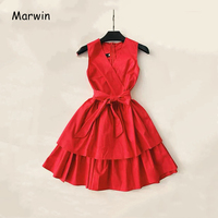 Marwin 2019 New Coming Women Summer Spaghetti Strap V Neck Empire Sleeveless Knee length Dresses High Street Party Holiday Style