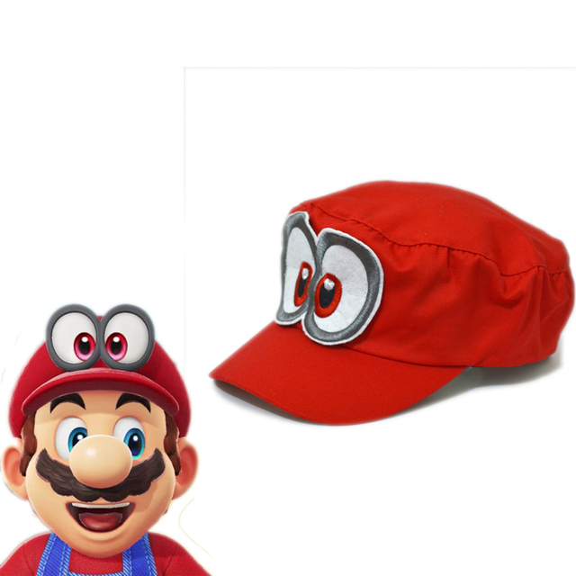super mario odyssey cosplay hat props unisex adjustable hat red cap