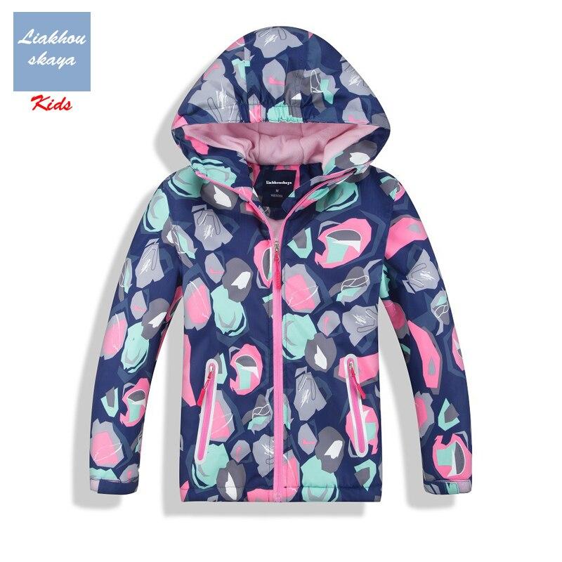 Liakhouskaya 2019 Spring Fashion Kids Fleece Casaco Jacket For Girls Flower Coats Children's Windbreakers Outerwear Water Proof