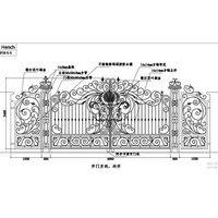 HENCH venedik tarzı süs demir dövme çift Driveway kapısı 18 'yüksek kaliteli