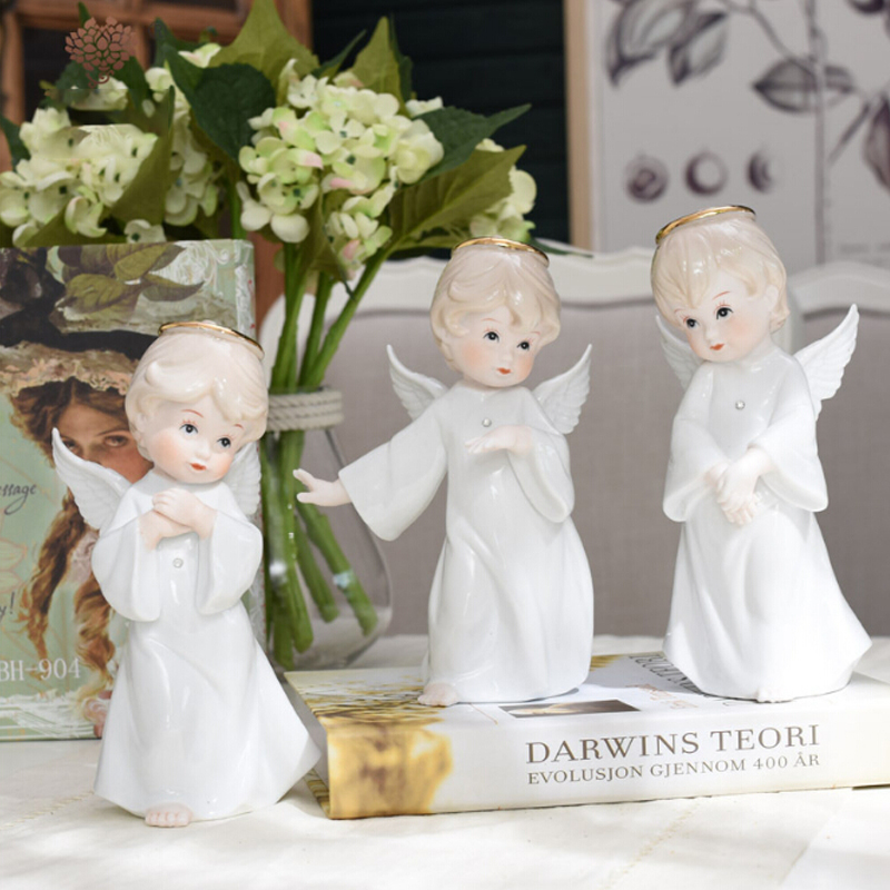 European Ceramic Figure Angel Gril Decoration Lovely Crafts Livingroom Ornaments Home Furnishing Creative Wedding Christmas Gift