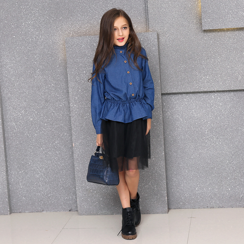 2017 Summer Long-sleeved Denim Dress Frocks Stitching Net Yarn Fake Two-piece Suits Korean Big Teenager Girls Clothing Sets