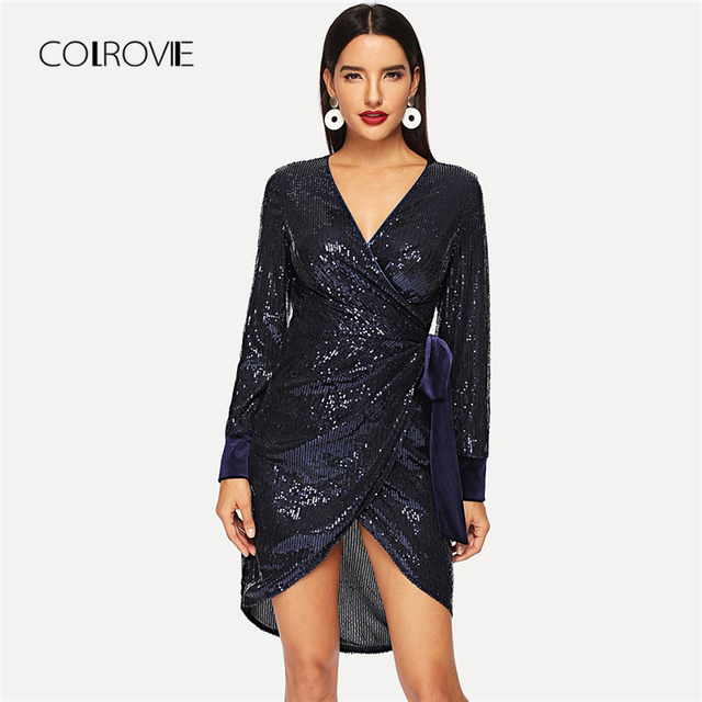 COLROVIE Navy Solid V-Neck Sexy Wrap Party Sequin Dress Women 2018 Winter  New Fashion Long Sleeve Club Mini Dress Ladies Dresses 7f526100dacb
