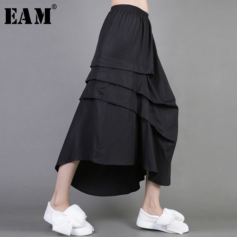 [EAM] 2020 New Spring Black Loose Casual Pleated Asymmetric Length Elastic Waist Wild Skirt Women Fashion Tide LA809