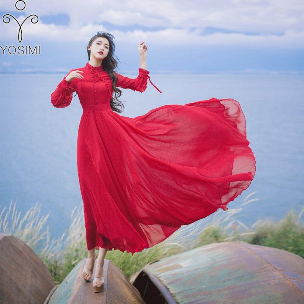YOSIMI 2018 Summer Dress Maxi Elegant Chiffon Long Women Dress Tunic Red  Dress Female Vestido Knee d89f2a1fe