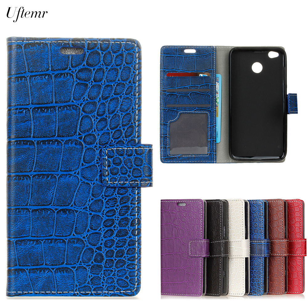 Uftemr Vintage Crocodile PU Leather Cover For Xiaomi Redmi 4X Protective Silicone Case Wallet Card Slot Phone Acessories
