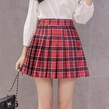 الموضة الكورية الصيف تنورة عالية الخصر النساء فتاة المدرسة مطوي التنانير مع السراويل مثير الأحمر سستة صغيرة منقوشة تنورة Faldas