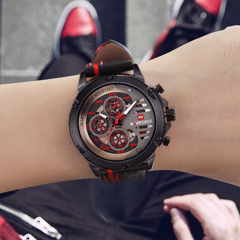 NAVIFORCE גברים של האופנה ספורט שעונים עמיד למים רצועת עור Creative אנלוגי קוורץ שעון יד גברים שעון Relogio Masculino