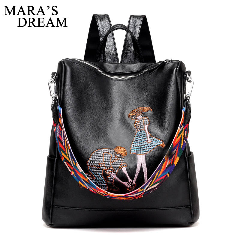 Mara's Dream PU Leather Embroidery Backpack School Bags For Teenagers Casual Black Travel Backpack Women Mochila Sac A Dos Femme women backpack soft leather large capacity casual travel backpack school bags for girls student bookbag mochila mujer sac a dos