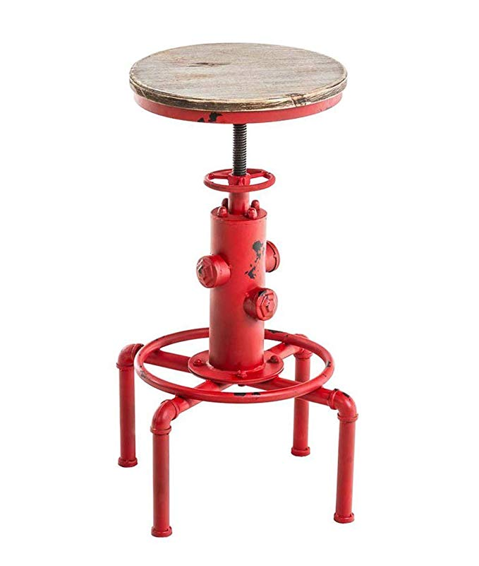 Bar Stools Vintage Antique Industrial Chair Solid Wood Fire Hydrant Design Cafe Swivel Height Adjustable Bar Chair Seat