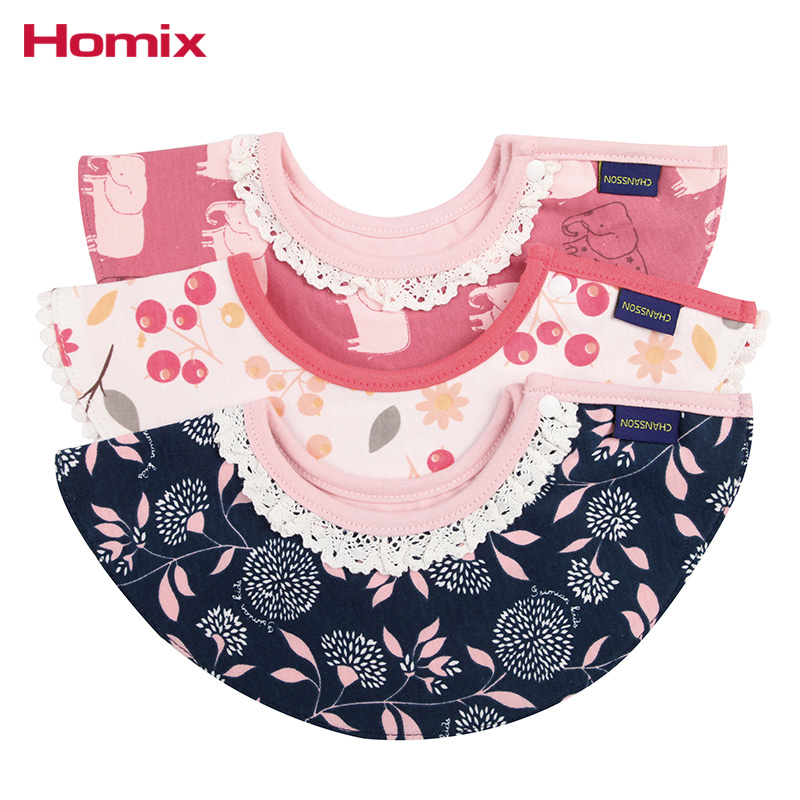Homix Pack of 3 Baby infant Cotton Bibs Cute Cartoon Print Toddler Waterproof Apron Towels
