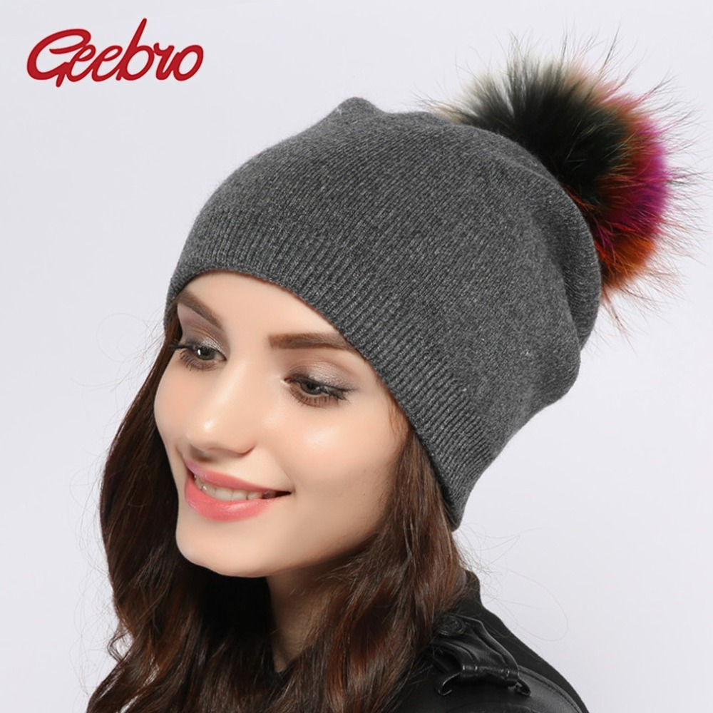 Geebro Women's Cashmere Beanies Hat Winter Knitted Wool Beanie For Women Racoon Fur Pompom Caps Ladies Real Fur Pom Pom Hats