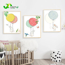 Nordic Cartoon Animal Rabbit Balloon Canvas Painting Wall Art Picture Poster Home Decor For Kids Room Unframed