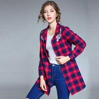 Kerrilado New Fashion Plus Size Women Plaid Turn Down Collar Embroidery Flower Red Blue Long Shirt