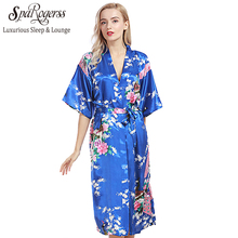 SpaRogerss Women Long Robe 2017 Brand New Ladies Faux Silk Floral Summer Bathrobe Thin Female Luxury Plus Size Robes Woman WP200(China)