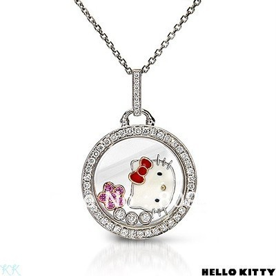 Hello Kitty Pendant ALP Free Shipping,hello kitty wholesale,hello kitty necklace cheap,hello kitty  jewelry in red flower 12pcs/lot J00050
