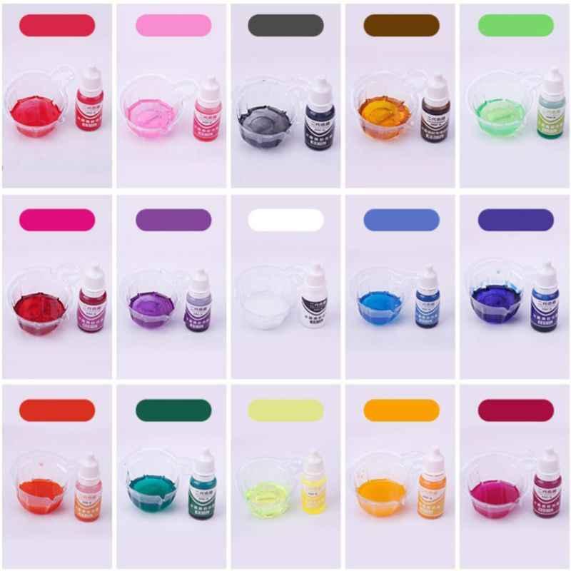 15 unids/set 10ml epoxi UV resina colorante joyería pigmento líquido baño bomba jabón tinte 15 colores DIY joyería herramientas