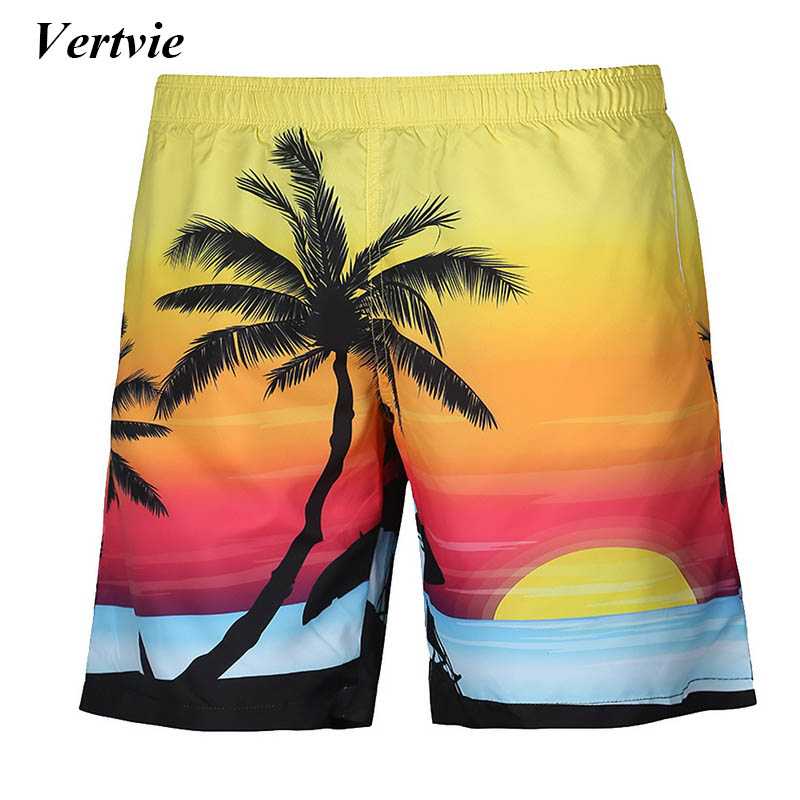 Vertvie Brand Summer Beach Style Men Beach   Shorts   Quick Dry Printed Surf   Board     Shorts   Swimwear Swim Pantalones Hombre