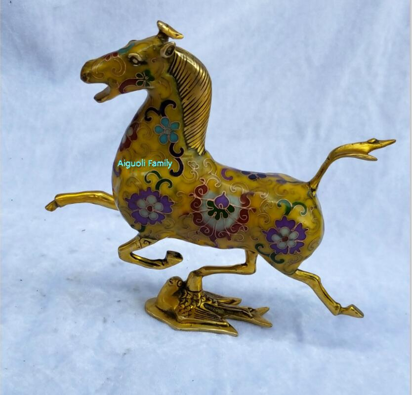 Art Collectible Chinese Old Cloisonne Bronze Carved Flying Horse Statue/Home Decoration Animals Sculpture Horse Model Craft 003