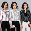 Плюс размер женская одежда топы 2016 черный белый красный полосатый шифон рубашка женская тонкий с длинным рукавом рубашки женщины ПР работа блузки