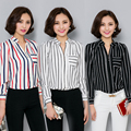 Tallas grandes ropa tops 2016 negro blanco rayado rojo camisa de la gasa de las mujeres camisas de manga larga delgado DEL trabajo DEL OL femenino blusas