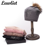 Lawliet 2018 Women Hats Winter Real Fur Pom Hat Butterfly Rhinestone Cashmere Wool Beanies Lady Double Layer Knitted Hat Bonnet