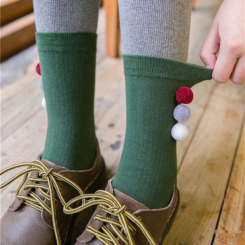 Chic Women Girl Crew Cotton Socks Fashion Hairball Design Female Casual Solid Cosy Sock Womens Autumn Winter Thermal Socks Sox